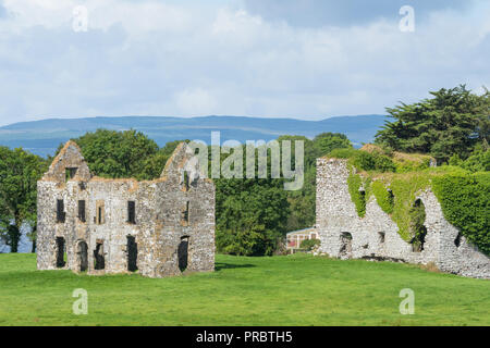 A view of Annaghkeen Castle, situated next to Lough Corrib in County Galway in Ireland. - Stock Photo