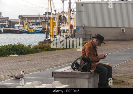 man with black hat on his head and a cigarette in his mouth sits on a wooden bench near the harbor looking on his mobile phone with behind him a gull