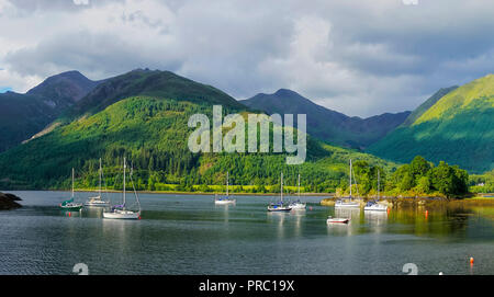 Panorama, Loch Leven, eveing light, Bishop's Bay, looking to Glencoe Mountains, North Ballachulish, Highland Region, Scotland UK - Stock Photo