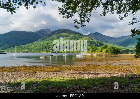 Loch Leven, Bishop's Bay, looking to Glencoe Mountains, North Ballachulish, Highland Region, Scotland UK - Stock Photo
