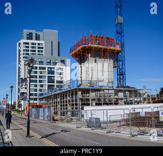 September 27th 2018: Construction of Plaza 1821, named after the year Princes Dock was opened - and is set to contain 105 apartments. - Stock Photo