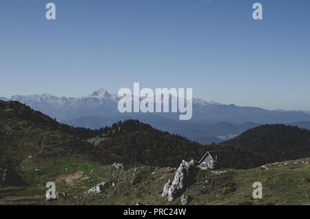 View of highest peak in the Julian Alps - Stock Photo