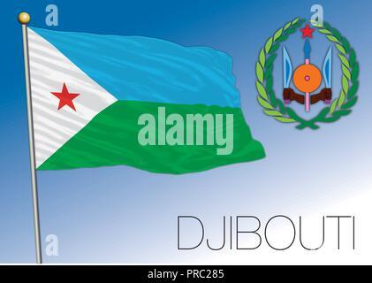 Djibouti Republic flag, vector illustration - Stock Photo