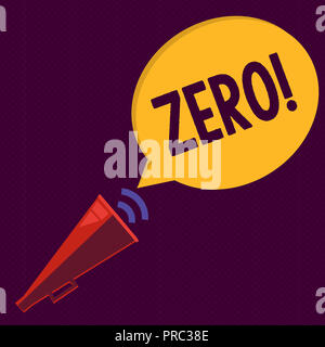 Writing note showing Zero. Business photo showcasing no quantity or number nought Nothing None Origin point on sketch. - Stock Photo
