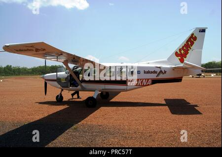 Gippsand Ga8 Airvan of VH-KNA Kakadu Air Services at Cobinda, Northern Territories, Australia - Stock Photo