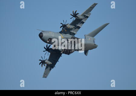 An Airbus A400M cargo from the french air force during a performance at the Francazal air show near Toulouse. - Stock Photo