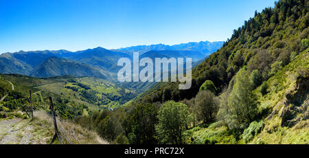 view of Aspin Pass (Col d Aspin)  of the Pyrenees mountains in France - Stock Photo