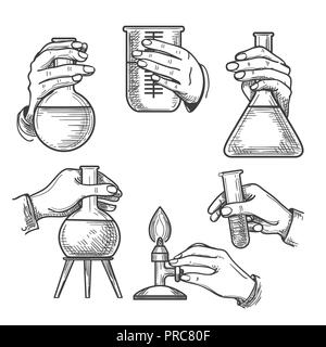 Retro chemical experiments. Vintage science laboratory beakers and burners, old sketch hands of chemist in handdrawn style, vector illustration - Stock Photo