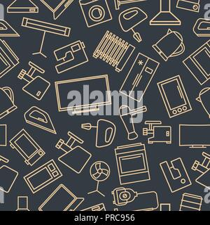 Seamless pattern from a set of household appliances icons of thin lines, vector illustration. - Stock Photo