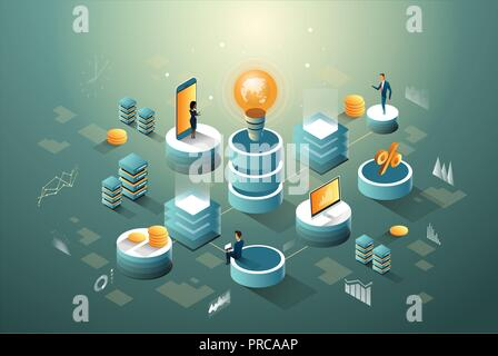 Digital core, business, finance and networks data isometric infographic with idea of people. - Stock Photo