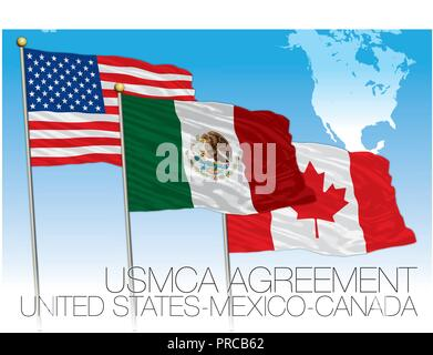 USMCA Agreement 2018 flags, United States, Mexico, Canada, vector illustration with map - Stock Photo