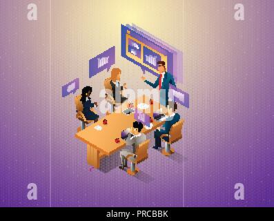 People interacting with graphs and papers while have digital meeting. Workflow and business management. 3D vector isometric illustration. - Stock Photo