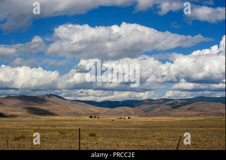 Open prairie and big sky in Montana, USA - Stock Photo