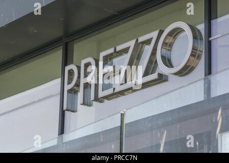 Scenes from around Newquay town centre, Cornwall. Closed PREZZO restaurant in Newquay. Casual dining sector crisis, casual dining concept. - Stock Photo