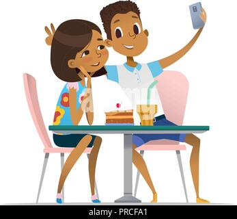 African-American girl and boy meeting at the cafe a and taking selfie. Teenagers friends at the restaurant taking photo on phone. Smiling students having coffee-break and taking self-portrait. - Stock Photo