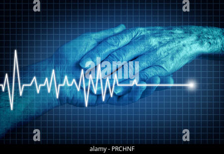 Euthanasia terminally ill patient ending of life concept as a medical Intervention to end pain and suffering as a health care symbol. - Stock Photo