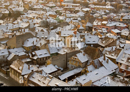 View of the historical center of city Sibiu, in sunset in the winter time, Rpmaina, Transylvania - Stock Photo