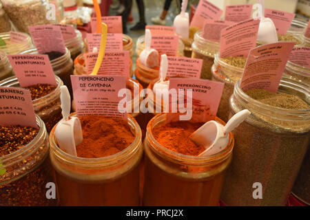 Display of various types of hot peppers in powder and seeds. - Stock Photo