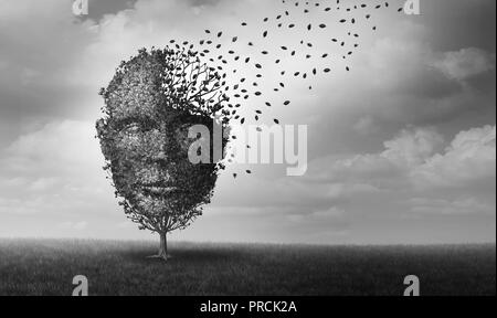 Mental health and personal crisis idea as a tree shaped as a face losing leaves as an anxiety and human stress symbol with 3D illustration elements. - Stock Photo