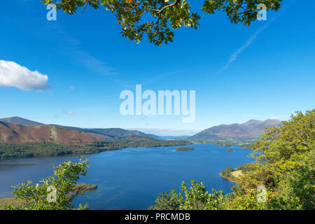 View over Derwentwater towards Skiddaw massif from Surprise View, Borrowdale, Lake District, Cumbria, UK