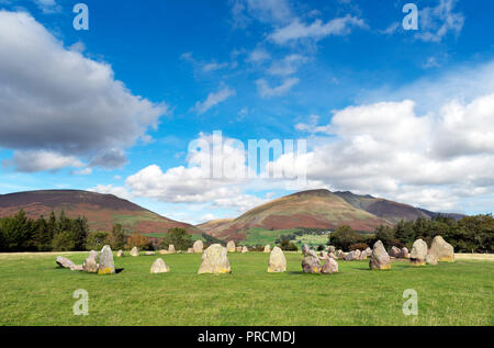 Castlerigg Stone Circle, a late neolithic to early bronze age site near Keswick, Lake District, Cumbria, UK - Stock Photo