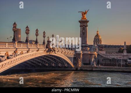 Bridge Alexandre III and Hotel des Invalides in Paris