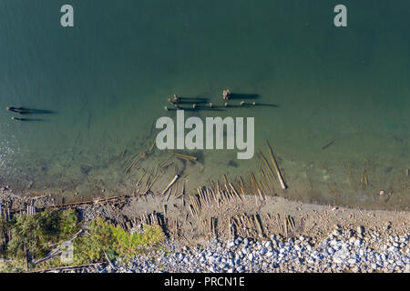 Aerial view of shipwreaks near Royston on Vancouver Island, Cana - Stock Photo