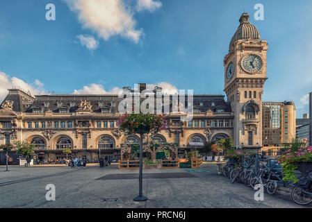 September 2018 - Paris, France - Gare De Lyon railway station in Paris in daytime - Stock Photo