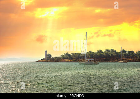 View of the picturesque lighthouse of Gythio, Peloponnese, Greece. - Stock Photo