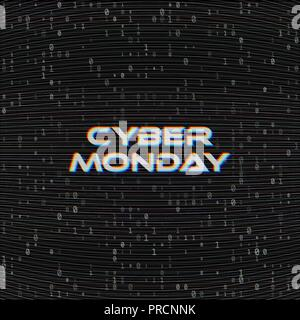 Vector Cyber monday Sale web banner on binary code dark background. Online web shopping data concept. Computer numbers 1,0. Analog TV Glitch moire - Stock Photo