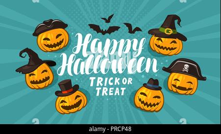 Halloween, greeting card. Holiday banner. Cartoon vector illustration - Stock Photo