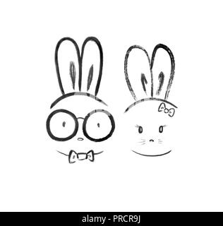 Cute kawaii couple of a bunny nerd boyfriend in spectacles and a bunny girlfriend with a bow. Minimalistic black and white oriental style illustration - Stock Photo