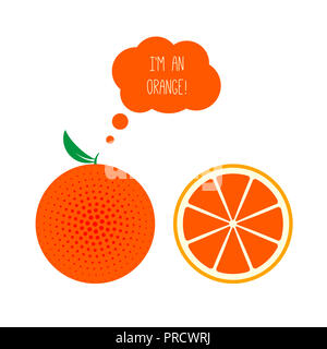 Orange Whole and Half Cut. Thought or Think Bubble. Flat Style Illustration Isolated on White. Fresh Fruits Set. - Stock Photo