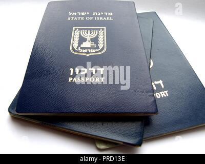 Bunch of Israeli passports - Stock Photo