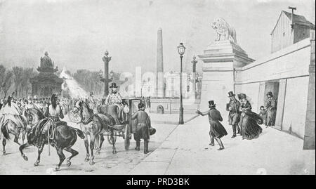 Flight of King Louis Philippe from Paris, France, during the French Revolution of 1848 - Stock Photo