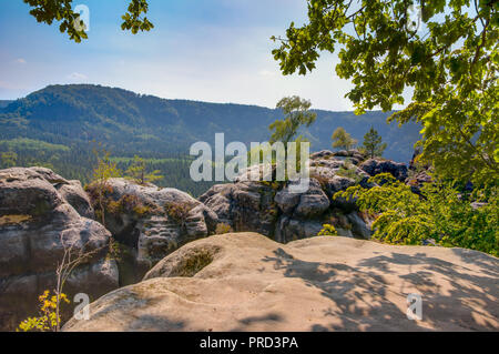 Rocks in the Elbe Sandstone Mountains (Saxony, Germany) - Stock Photo