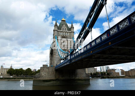 Tower bridge across river Thames in London city in 19. September 2018. ( United Kingdom - Stock Photo