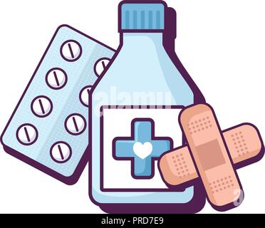 bottle drugs with bandages and pills vector illustration design - Stock Photo