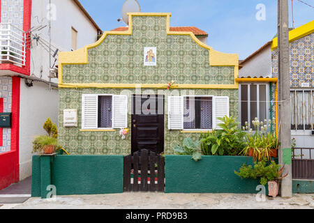 Portuguese tile covered house in the charming beach community of Costa Nova in Aveiro, Portugal. - Stock Photo