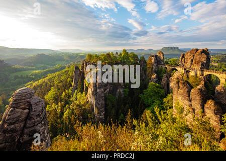 Europe, Germany, Saxony, Saxon Switzerland National Park, Bastei bridge - Stock Photo
