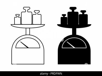 Black and white illustration of mechanical scales with weights - Stock Photo