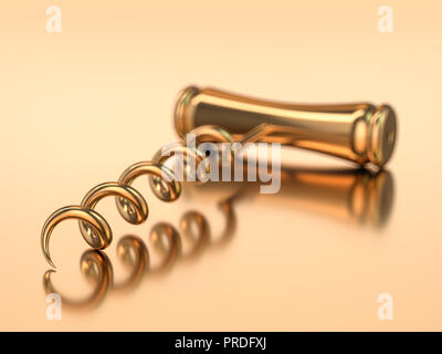 Corkscrew isolated on gold background. 3D rendering - Stock Photo
