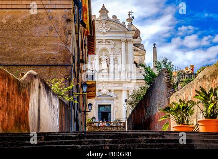 baroque italian church white facade Nostra Signora delle Lettere church Santa Margherita Ligure Genoa Italy - Stock Photo