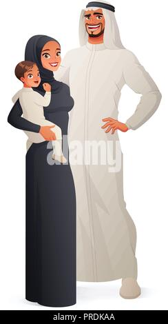 Happy traditional Arab family portrait. Vector illustration. - Stock Photo