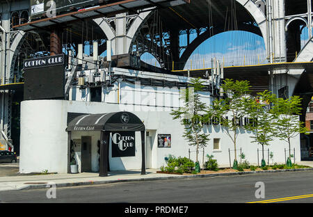 New York City, USA - June 10, 2017: The famous Cotton Club in New york City. Harlem, a cultural landmark for African-Americans, Revitalized in recent  - Stock Photo