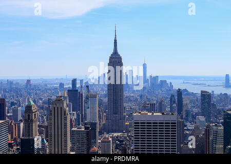 Aerial view of downtown Manhattan with statue of liberty in the far view, New York City - Stock Photo
