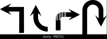 Black flat arrows. Set of icons or traffic signs - Stock Photo