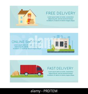 Logistics and free delivery service concept: motorbike, smiling couriers with packages, scooter, building, truck and city background. Postal horizonta - Stock Photo