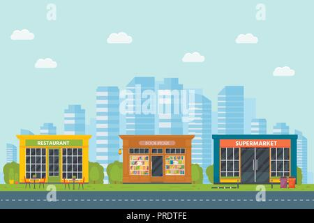 Set of vector flat design restaurants exterior and shops facade: book store, supermarket. Store front window buildings icons with city background. - Stock Photo