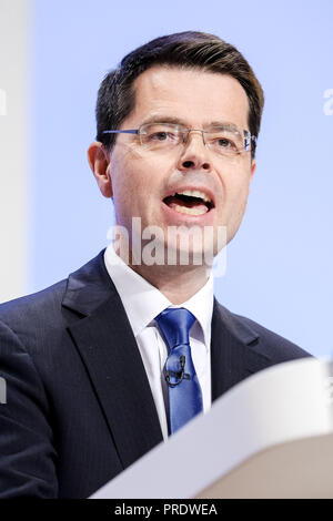 Birmingham, UK. 1st Oct 2018. James Brokenshire, Secretary of State for Housing, Communities and Local Government, at Conservative Party Conference on Monday 1 October 2018 held at ICC Birmingham , Birmingham . Pictured: James Brokenshire, Secretary of State for Housing, Communities and Local Government, addresses conference in the session named 'Opportunity for Future Generations' on the afternoon of day 2. Picture by Julie Edwards. Credit: Julie Edwards/Alamy Live News - Stock Photo